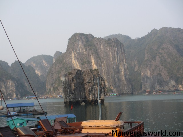 The view from our boat on Halong Bay
