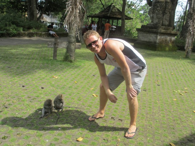 Me with monkeys inside Ubud's Monkey Forest
