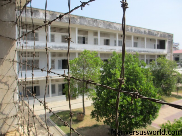 Barbed wire, S-21 in Phnom Penh, Cambodia