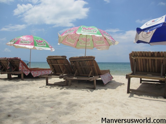 Beach chairs at Ochheuteal Beach in Sihanoukville, Cambodia