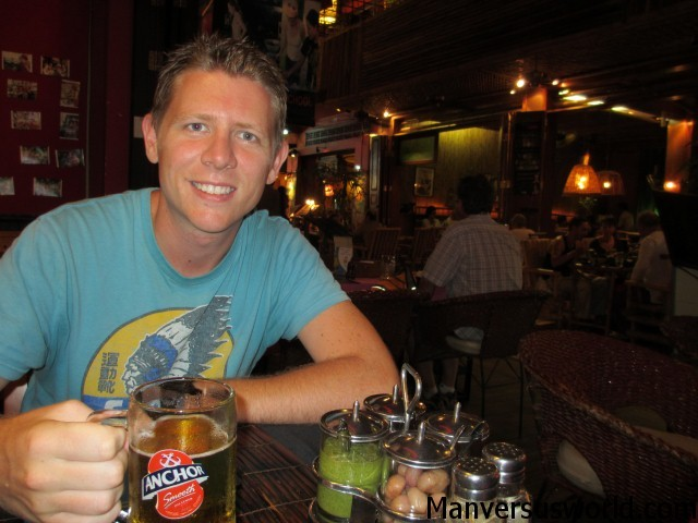Me with a local beer in Siem Reap, Cambodia