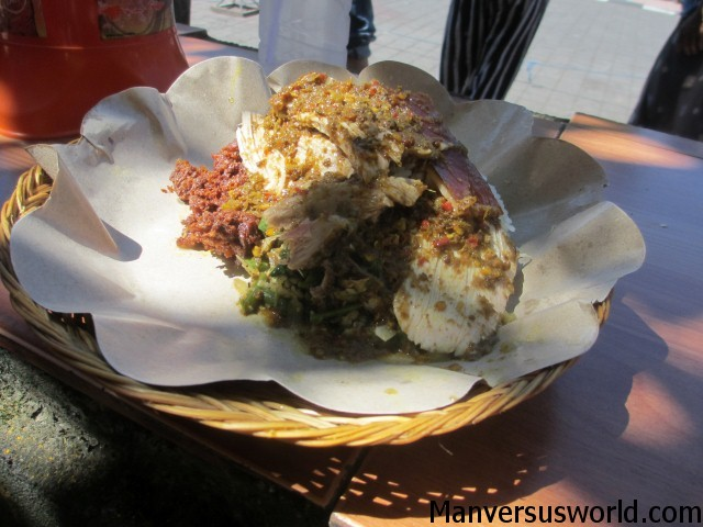 A plate of suckling pig from Warung Ibu Oka in Ubud
