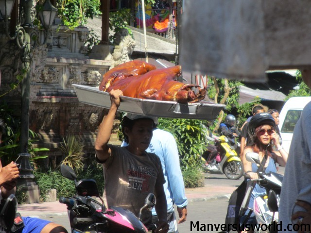 A fresh suckling pig at Warung Ibu Oka, Bali