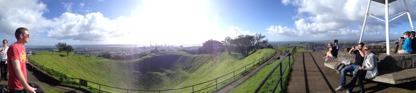 A panorama photo from the top of Mount Eden, Auckland