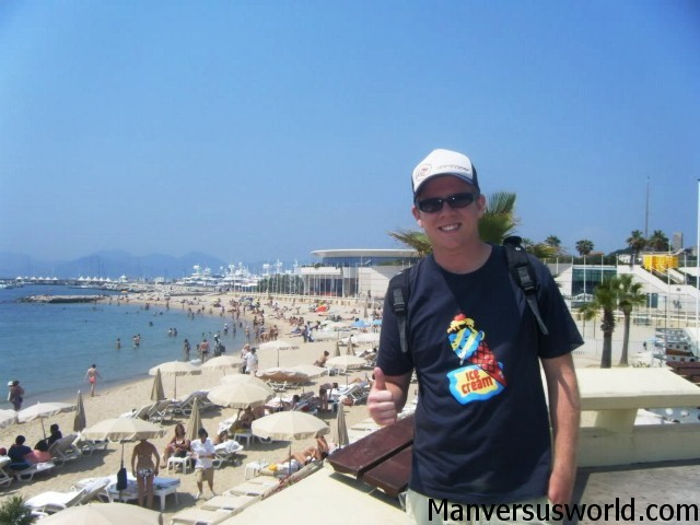 The beach in Cannes - thumbs up!
