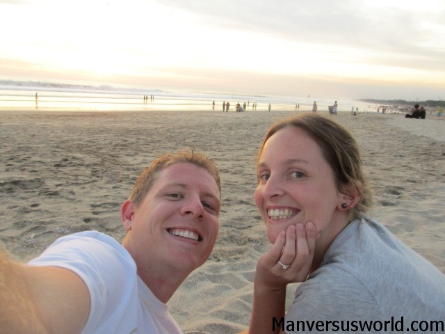 Me and Nic with the engagement ring, on the beach in Kuta, Bali