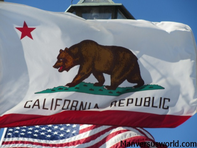 The Californian flag flies high