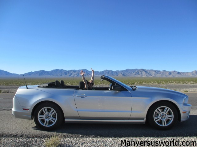 Our Mustang convertible - somewhere between Vegas and Tahoe