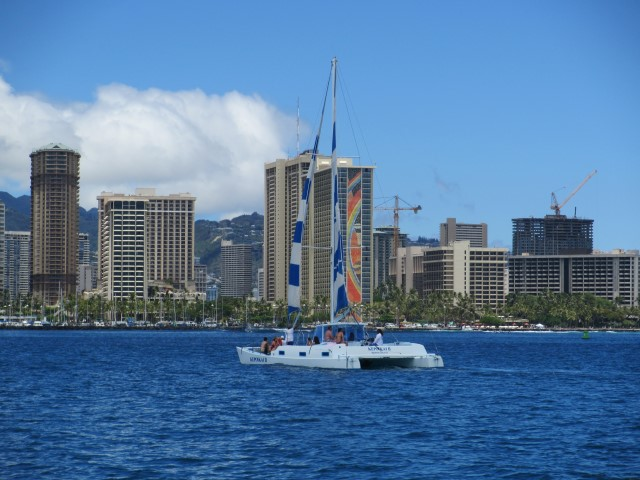 Wild in Waikiki: going sailing on a catamaran