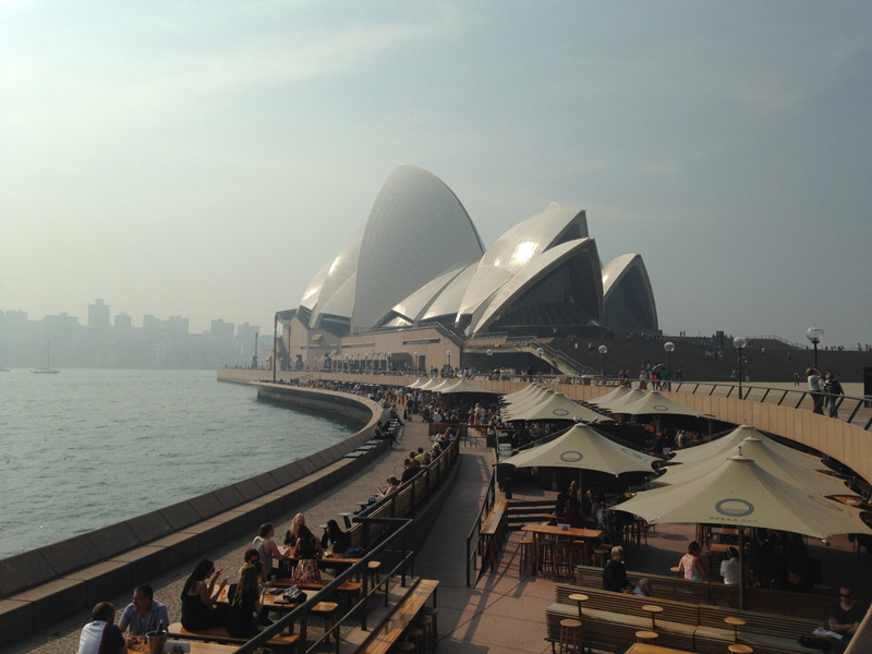 Sydney Opera House shrouded in smoke