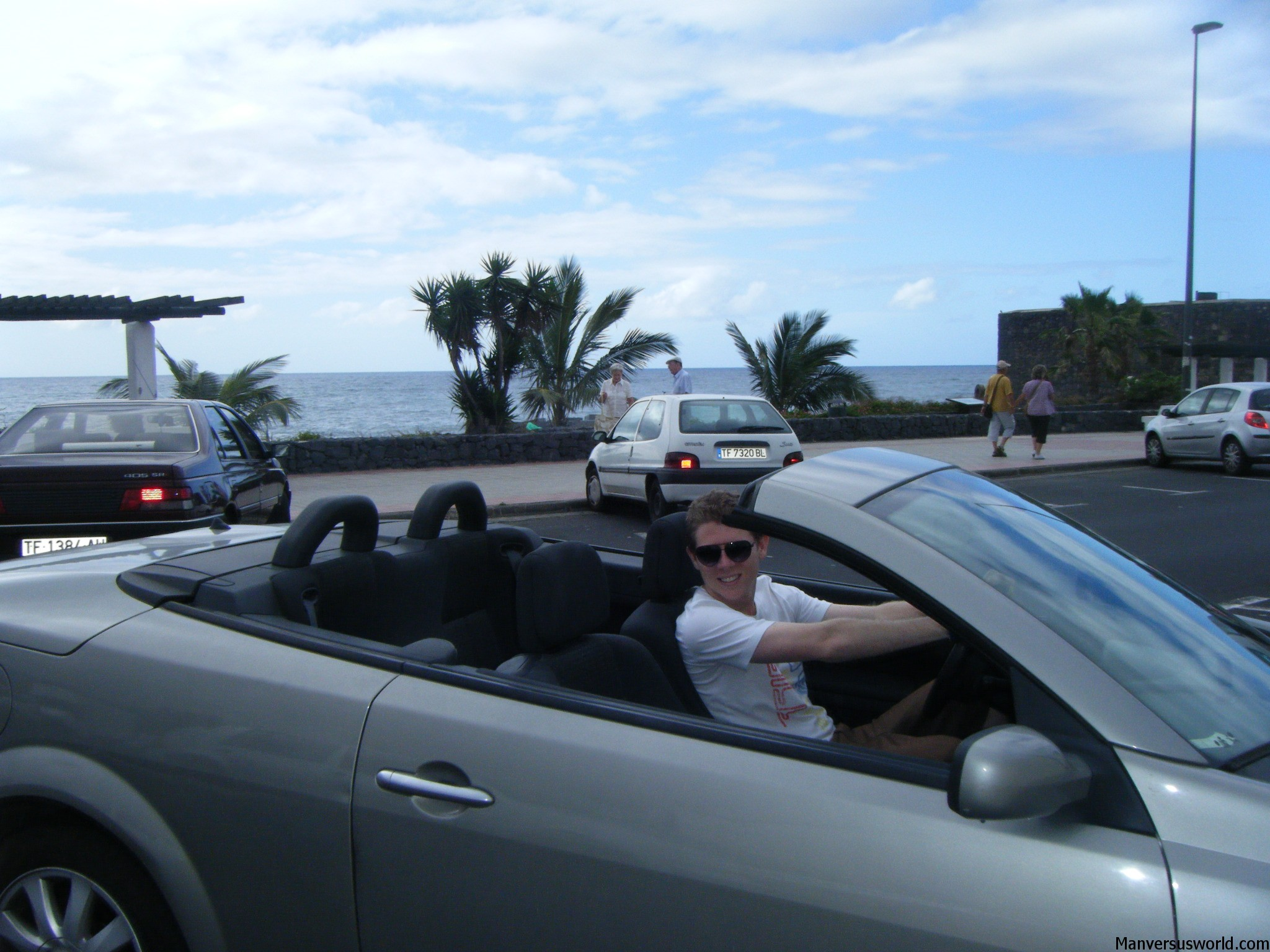 Me driving a conveertible in Tenerife.