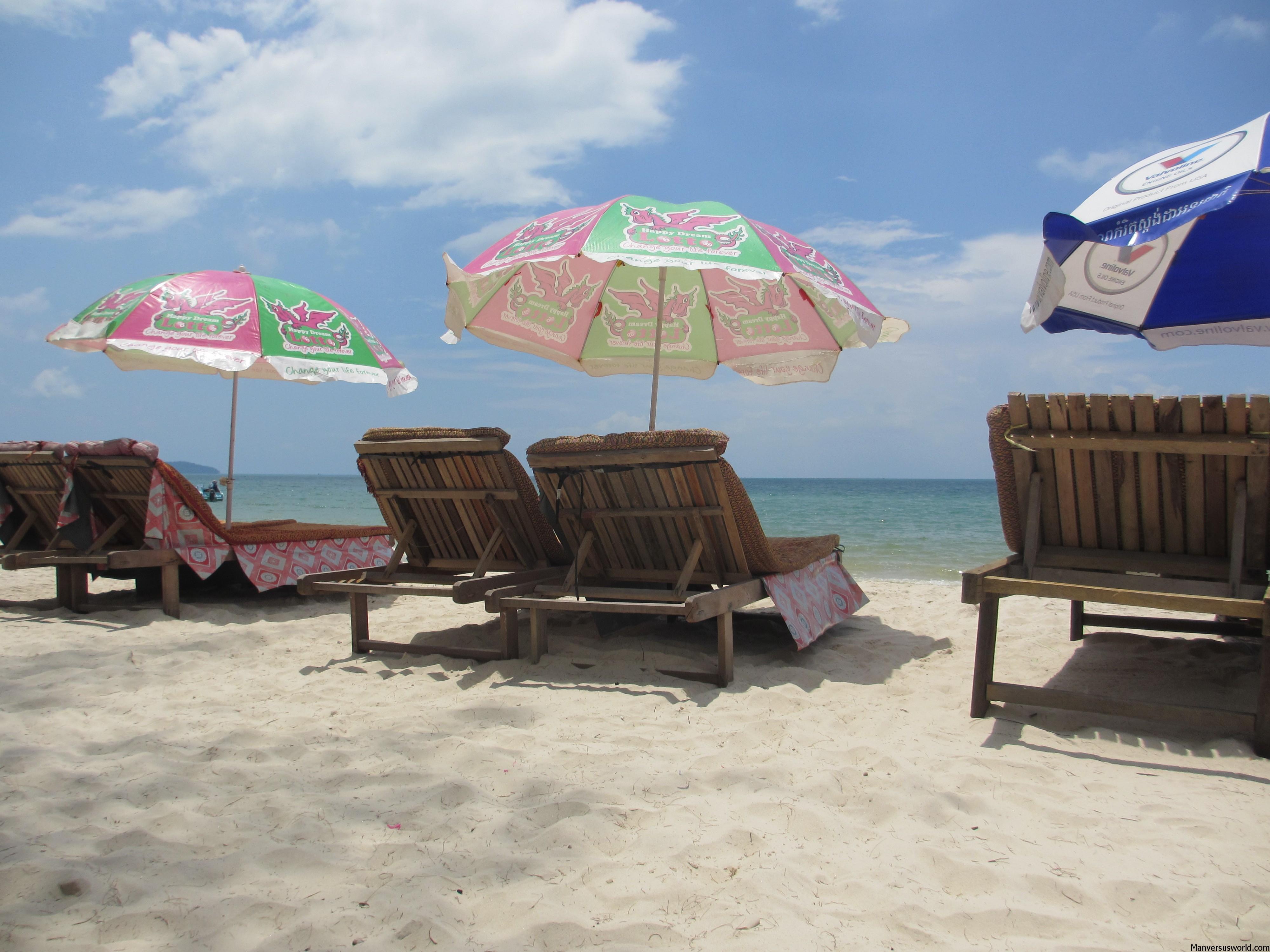 Beachcairs along Serenditpity Beach in Sihanoukville, Cambodia.