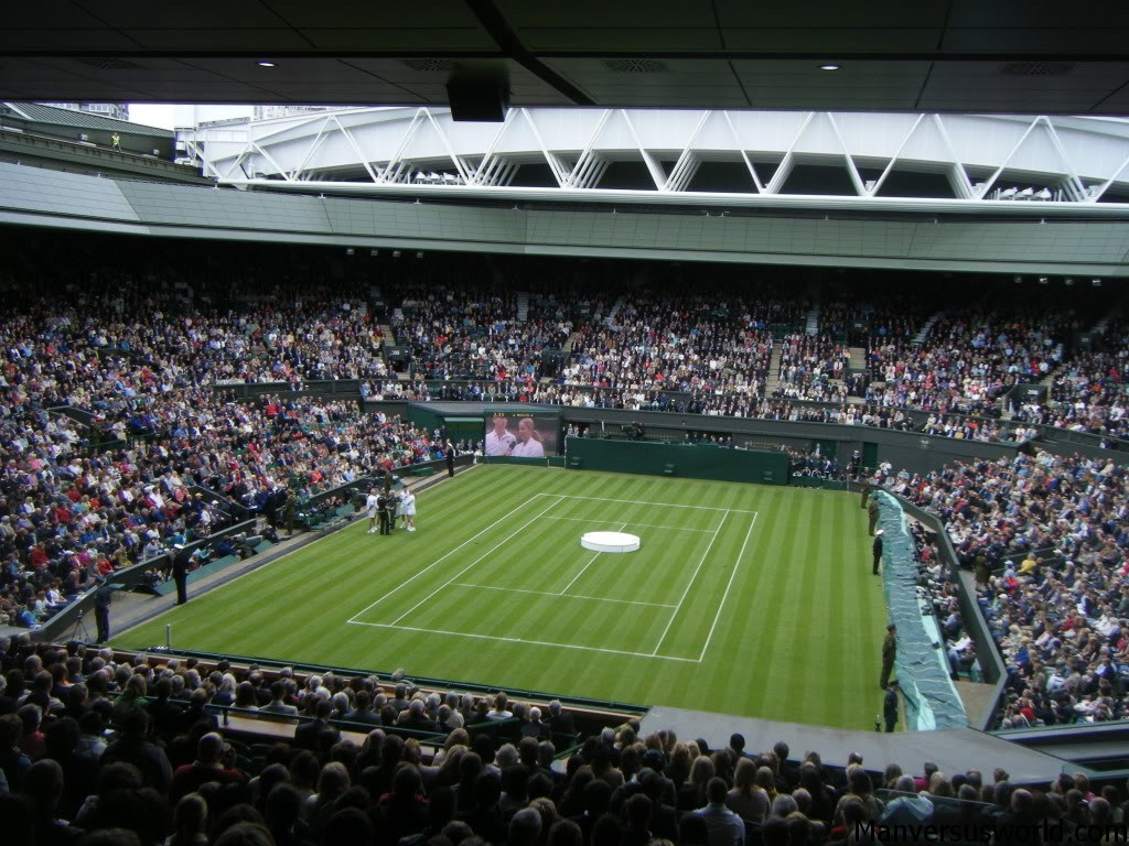 Centre court at Wimbledon for the unveiling of its new roof
