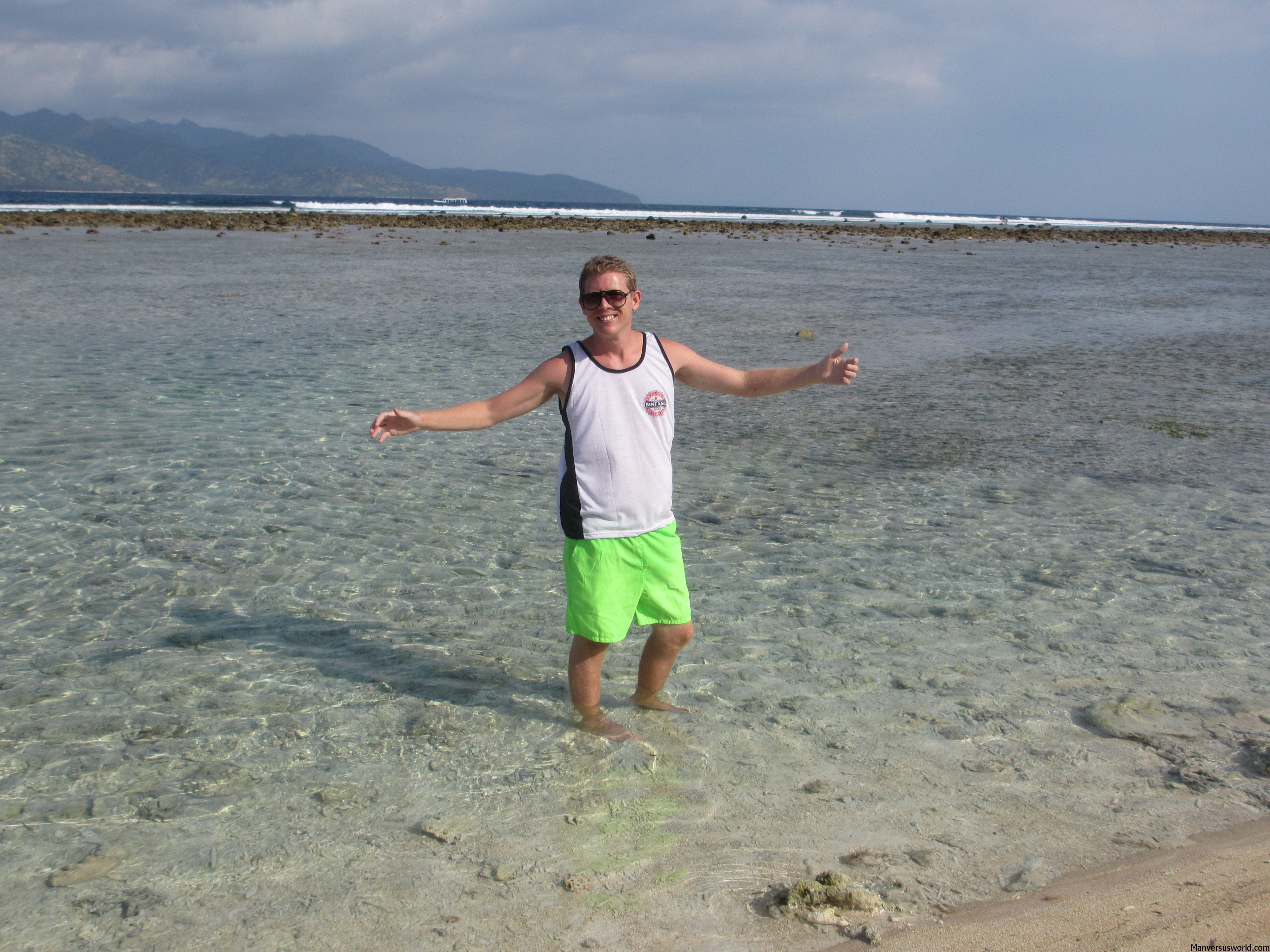 Happy: I take a dip at Gili Trawangan in Indonesia