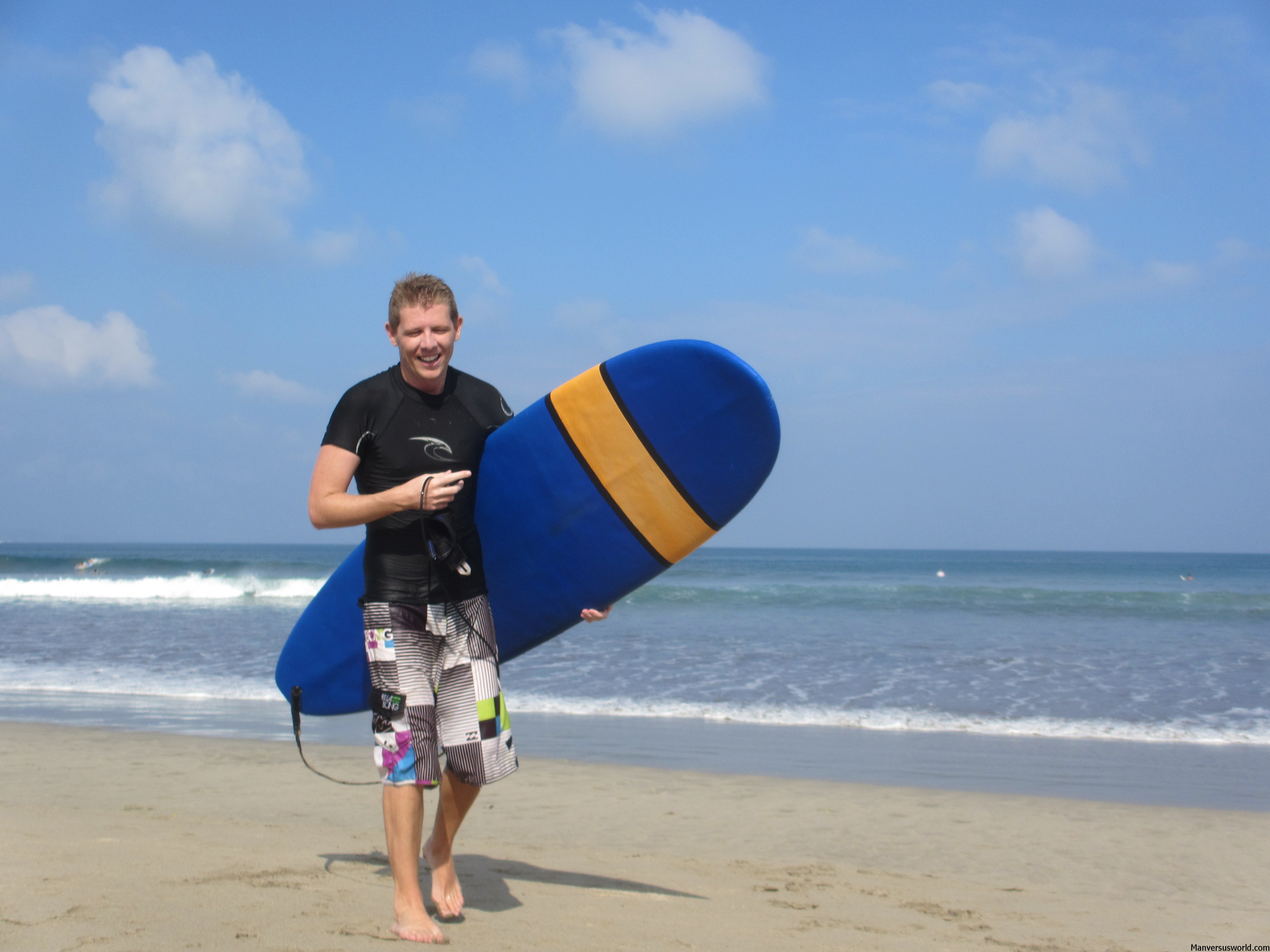 Pleased as punch: learning to surf on Kuta Beach, Bali