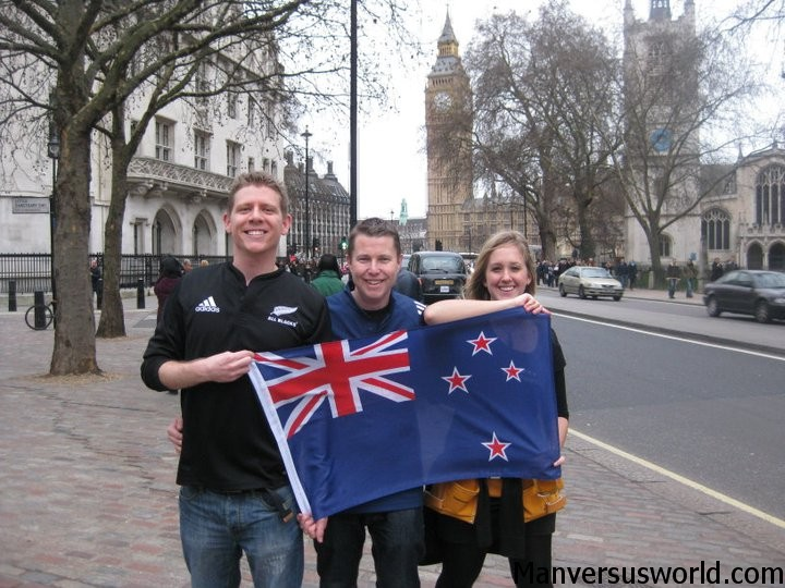 London on Waitangi Day with a NZ flag - in front of Westminster