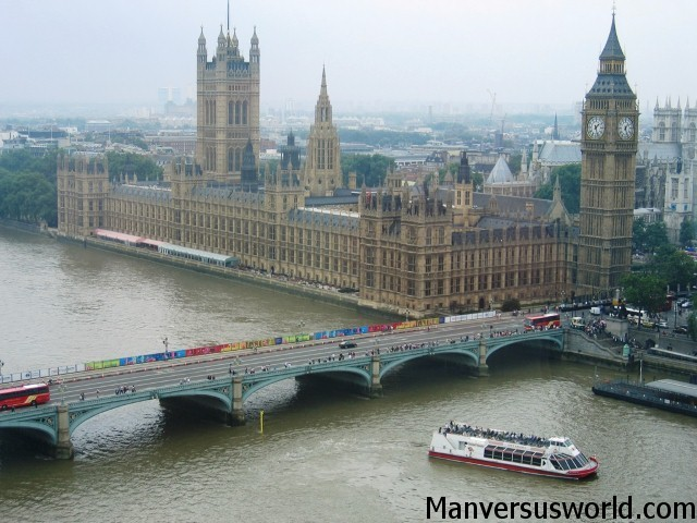 The view of Parliament from the London Eye