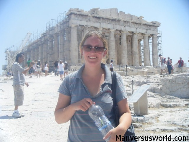 Nicola stands in front of Athens' Acropolis