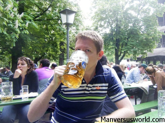 Me drinking a stein in Munich, Germany