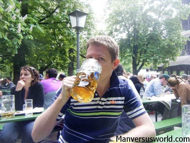 Me drinking a stein in Munich, Germany