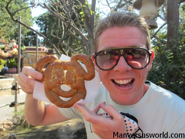 A Mickey Mouse-shaped pretzel at Disneyland, California